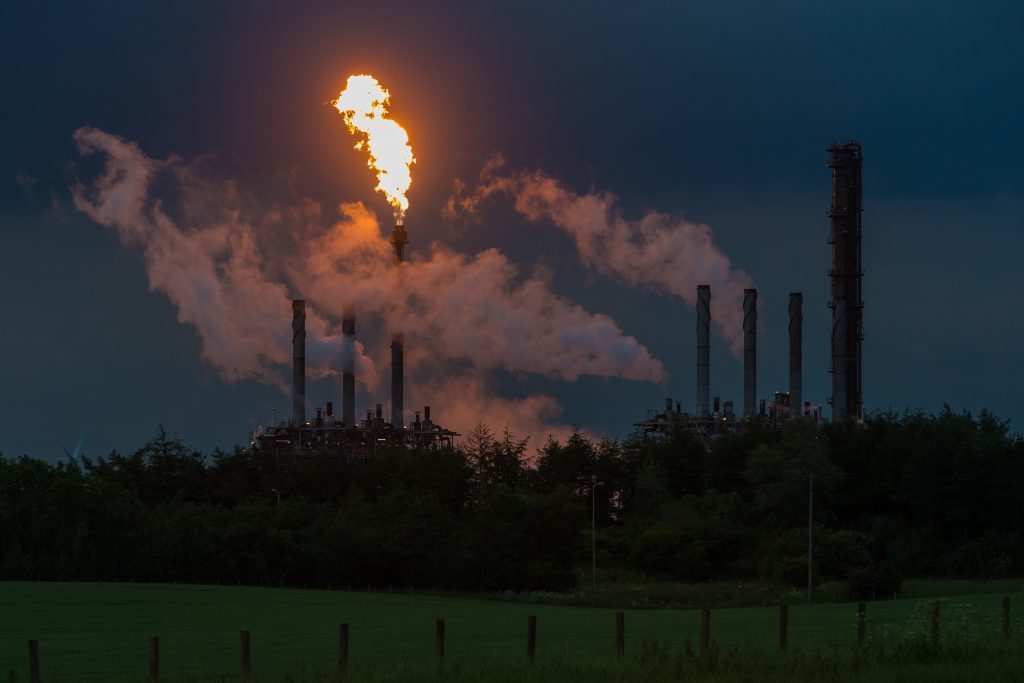 Flaring at the plant in June 2017.