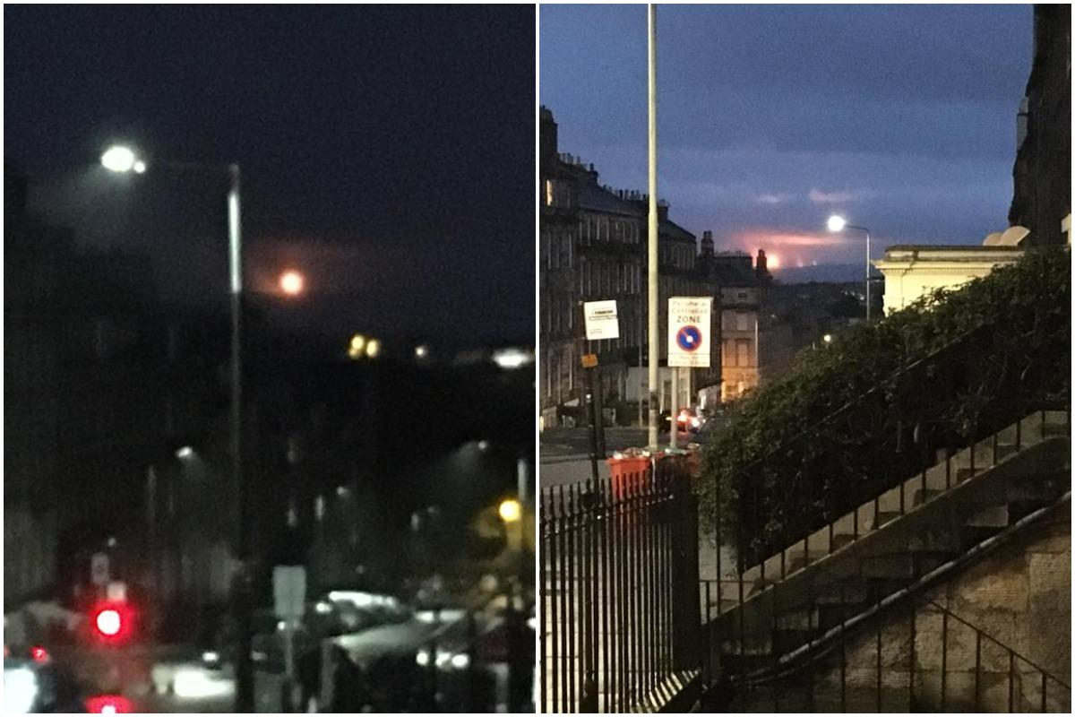 Mossmorran: photos show orange glare from flaring at chemical plant