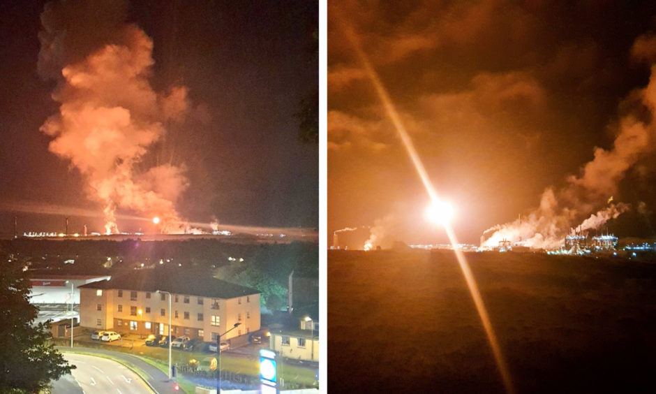 Photos of the flaring at Mossmorran on Monday.